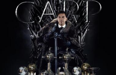 Marcelo Gallardo en el trono de 'Game of Thrones'.