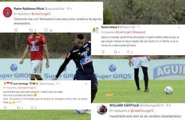 Aficionados de Junior enviaron un mensaje de apoyo a Chunga luego del incidente.