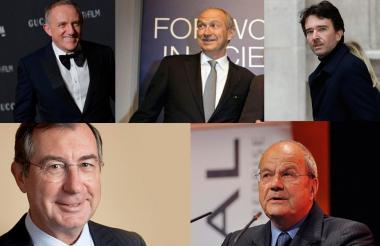 François-Henri Pinault, Jean-Paul Agon, Bernard Arnault, Martin Bouygues y Marc Ladreit de Lacharrière.