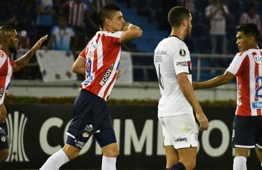 Rangel celebrando el gol de la victoria de Junior.