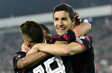 Fernández celebra su gol.