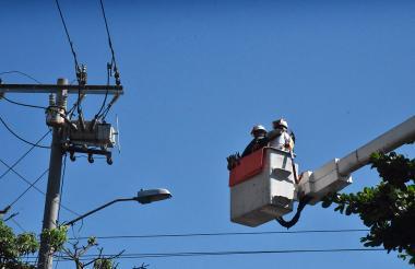 Contratistas de la empresa Electricaribe realizan mantenimiento de redes.