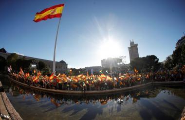 Concentración de simpatizantes del movimiento de ultraderecha Vox, reunidos en la Plaza Colón de Madrid el pasado viernes.