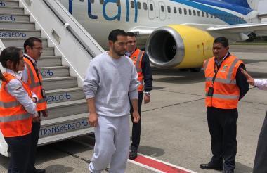 El abogado Leonardo Pinilla Gómez a su llegada al país.