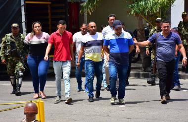 Algunos de los capturados de la banda 'Los Toyotas'.