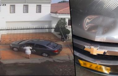 Así quedó el carro luego de la agresión registrada durante la mañana de este martes.