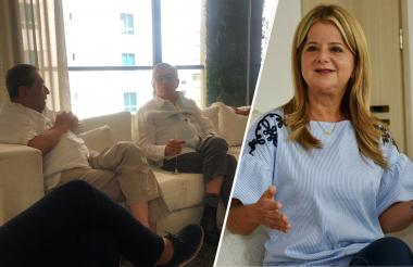 Fuad Char y César Gaviria en el encuentro que sostuvieron este viernes en la casa del senador Mauricio Gómez Amín.