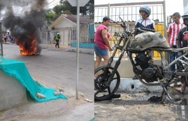 Momento en que la motocicleta es incinerada en el sector.