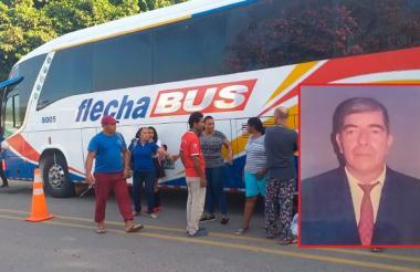 Momento del accidente en el que falleció Víctor Manuel Téllez Morales (en el recuadro).