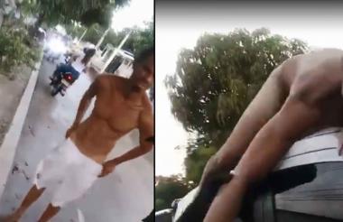 El hombre paseó desnudo sobre el techo del vehículo.