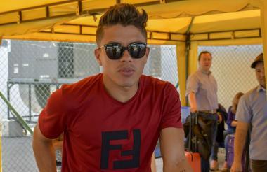 Andrés Felipe Roa llegando a Barranquilla.