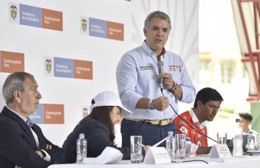 El presidente Iván Duque durante el taller Construyendo país, en Pasto.