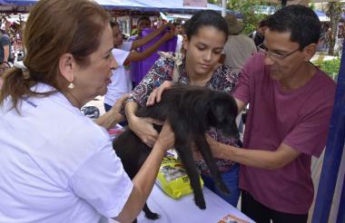 Valentina y su papá, Simón Brito, recibieron a Copete con cariño durante la Animalatón.