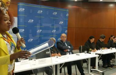 Durante el encuentro de afrocolombianos y la JEP.