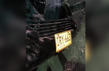 Placa del vehículo accidentado.