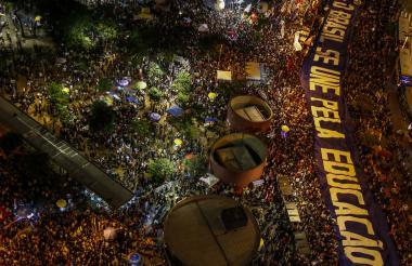 Protesta de los estudiantes en Brasil.