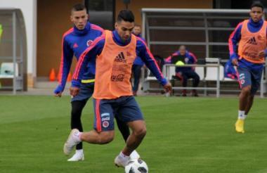 Radamel Falcao García entrenando con la Selección Colombia.