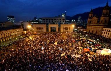 Marcha por la paz realizada en Bogotá.