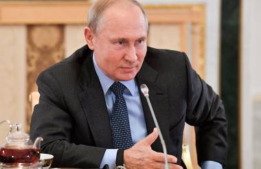Vladimir Putin, presidente de Rusia, en declaraciones con los máximos responsables de las principales agencias de noticias del mundo.