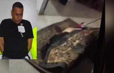En esta alfombra fue envuelto el cuerpo de Aracelis Amador. Por este homicidio está capturado Jorge Eliécer Vélez, sobrino de la víctima.