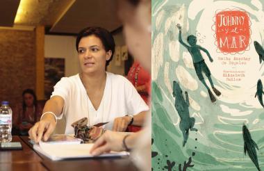 Melba Escobar en medio de su taller en el festival.
