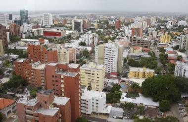 Panorámica de las edificaciones ubicadas en un barrio en la zona norte de Barranquilla.