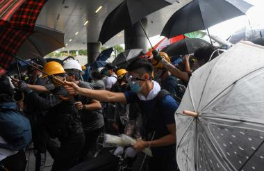 Los actos de este miércoles fueron violentos durante las protestas de este miércoles en Hong Kong.