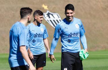 Luis Suárez entrenando con la Selección de Uruguay.