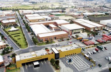 Vista aérea de la zona franca de Bogotá.