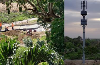 Momento en que los operarios realizaban los trabajos. La antena fue instalada en espacio público, según los residentes del sector.