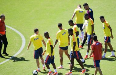La selección Colombia durante un entrenamiento.
