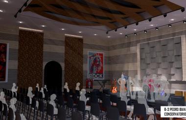Imagen interior de la sala de música del conservatorio Pedro Biava.