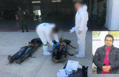 Los cuerpos de Jesús María Gallego, alias Chucho Mercancía, y su escolta personal Mario Giraldo.