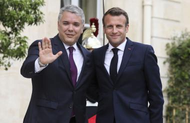 Iván Duque, presidente de Colombia junto a Enmanuel Macrón de Francia.
