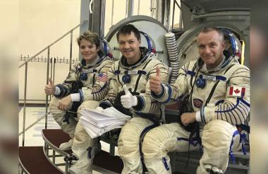 Anne McClain, Oleg Kononenko y David Saint-Jacques.