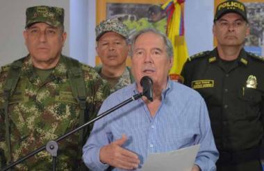 Guillermo Botero al término del consejo de seguridad en Coveñas, Sucre.