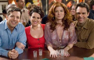 Los protagonistas de la serie de televisión Will and Grace, una de las más exitosas en la historia de la tv estadounidense.