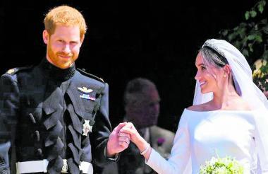 Harry y Meghan Markle al término de su boda.