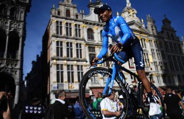 Nairo durante la presentación del Tour en Bruselas.
