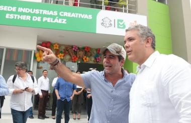 El presidente Iván Duque y el alcalde Alejandro Char, visitando las nuevas instalaciones del Sena en el Atlántico.