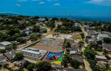 Panorámica de la renovada plaza del municipio de Tubará.
