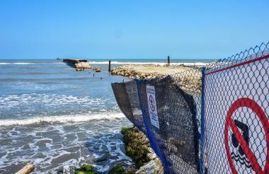 Imagen de las obras que se adelantan en el Muelle de Puerto Colombia.