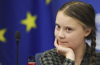 Greta Thunberg  durante un debate con el Comité de Medio Ambiente, Salud Pública y Seguridad Alimentaria de la UE en Estrasburgo, Fracia.