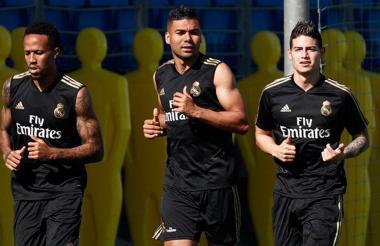 James entrenó ayer en Valdebebas junto a los brasileños Casemiro y Militao.