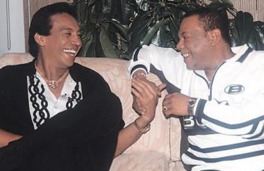 Los cantantes Diomedes Díaz y Álvaro José 'Joe' Arroyo.