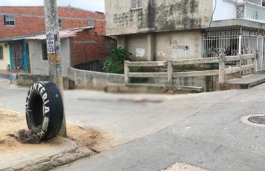 Lugar donde fue linchado el presunto delincuente en el barrio  Evaristo Sourdis.