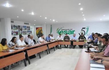 Aspecto del consejo de seguridad en en la sala de juntas de la gobernación del Cesar.