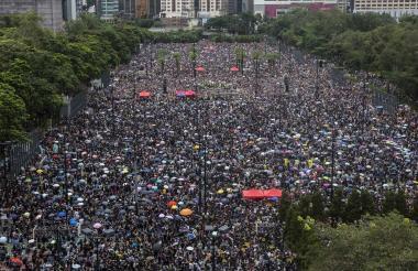Vista de las protestas de paraguas que se han tomado las calles de Hong Kong.