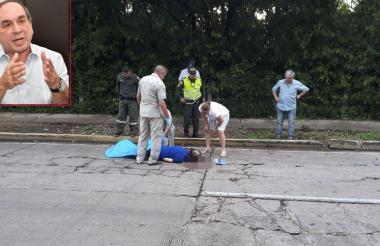 El cuerpo del médico Alberto Aroca Saad quedó tendido sobre la vía.