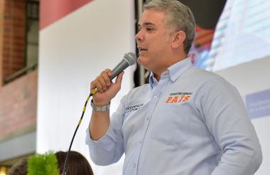El presidente Iván Duque durante el taller Construyendo País en Medellín.